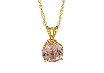 1.25 CARAT MORGANITE BRILLIANT ROUND CUT PENDANT 7mm 14KT YELLOW GOLD