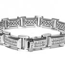 Mens Diamond Link Bracelet 6 Carat Princess Square Cut 14KT White Gold 8 Inch