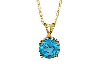 1.5 CARAT BLUE TOPAZ BRILLIANT ROUND CUT PENDANT 7mm 14KT YELLOW GOLD