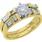 1.25CT WOMENS DIAMOND ENGAGEMENT RING WEDDING BAND BRIDAL SET ROUND YELLOW GOLD