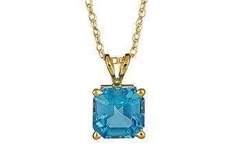 1.9 CARAT BLUE TOPAZ ASSCHER CUT PENDANT 7mm 14KT YELLOW GOLD