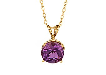 1.30 CARAT AMETHYST BRILLIANT ROUND CUT PENDANT 7mm 14KT YELLOW GOLD