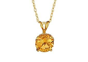 1.3 CARAT CITRINE BRILLIANT ROUND CUT PENDANT 7mm 14KT YELLOW GOLD