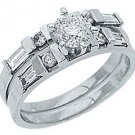 1.25CT WOMENS DIAMOND ENGAGEMENT RING WEDDING BAND BRIDAL SET ROUND WHITE GOLD