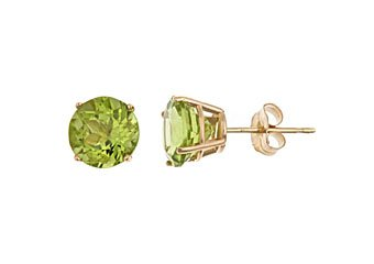 2.50 CARAT PERIDOT STUD EARRINGS 7mm ROUND 14KT YELLOW GOLD AUGUST BIRTH STONE