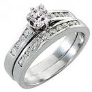 1.5CT WOMENS DIAMOND ENGAGEMENT RING WEDDING BAND BRIDAL SET PRINCESS WHITE GOLD