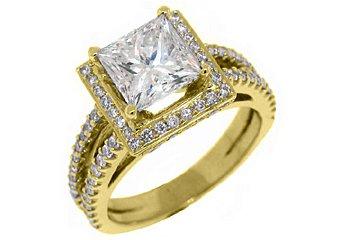 3.1 CARAT WOMENS DIAMOND ENGAGEMENT WEDDING HALO RING PRINCESS CUT YELLOW GOLD