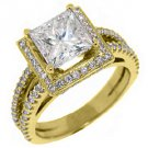 3.1 CARAT WOMENS DIAMOND ENGAGEMENT WEDDING HALO RING PRINCESS CUT YELLOW GOLD