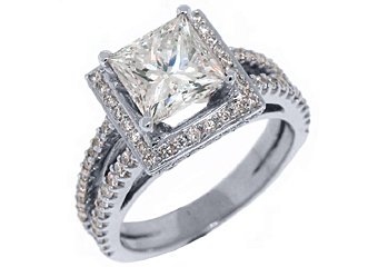 3.1 CARAT WOMENS DIAMOND ENGAGEMENT WEDDING HALO RING PRINCESS CUT WHITE GOLD