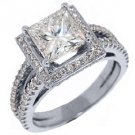 3.1 CARAT WOMENS DIAMOND ENGAGEMENT WEDDING HALO RING PRINCESS CUT WHITE GOLD