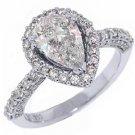 2 CARAT WOMENS DIAMOND ENGAGEMENT HALO RING PEAR SHAPE ROUND CUT WHITE GOLD