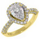 2 CARAT WOMENS DIAMOND ENGAGEMENT HALO RING PEAR SHAPE ROUND CUT YELLOW GOLD