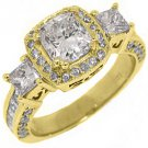 2.5 CARAT WOMENS 3-STONE DIAMOND HALO RING CUSHION CUT YELLOW GOLD