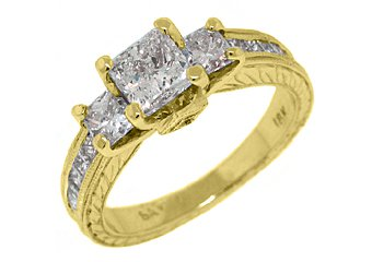 2.2 CARAT WOMENS 3-STONE PAST PRESENT FUTURE DIAMOND RING SQUARE CUT YELLOW GOLD
