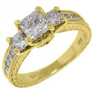 2.2 CARAT WOMENS 3-STONE PAST PRESENT FUTURE DIAMOND RING SQUARE CUT YELLOW GOLD