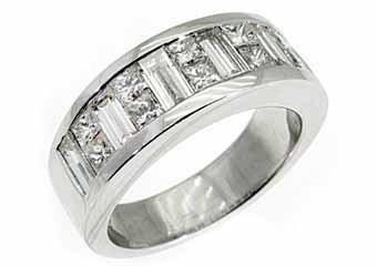 MENS 3.5 CARAT PRINCESS BAGUETTE CUT DIAMOND RING WEDDING BAND 18KT WHITE GOLD