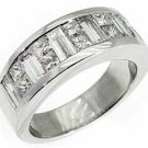 MENS 3.5 CARAT PRINCESS BAGUETTE CUT DIAMOND RING WEDDING BAND 18KT WHITE GOLD