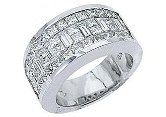 MENS 3.17 CARAT PRINCESS BAGUETTE CUT DIAMOND RING WEDDING BAND 18KT WHITE GOLD