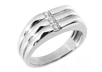 MENS 1/3 CARAT BRILLIANT ROUND CUT DIAMOND RING WEDDING BAND 14KT WHITE GOLD