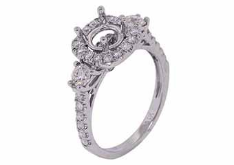1.09 CARAT WOMENS DIAMOND HALO ENGAGEMENT RING SEMI-MOUNT ROUND CUT WHITE GOLD