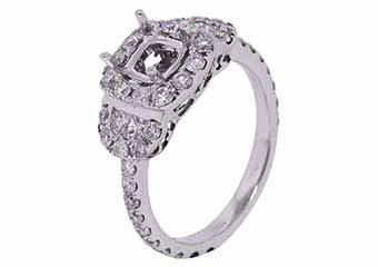 1.29 CARAT WOMENS DIAMOND HALO ENGAGEMENT RING SEMI-MOUNT ROUND CUT WHITE GOLD