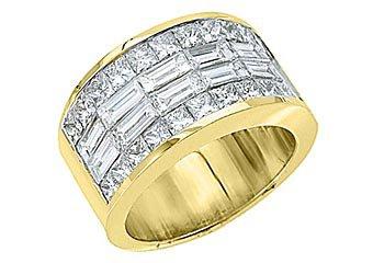 MENS 4 CARAT PRINCESS SQUARE CUT DIAMOND RING WEDDING BAND 18KT YELLOW GOLD