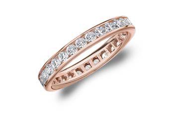 DIAMOND ETERNITY BAND WEDDING RING ROUND CHANNEL SET 14KT ROSE GOLD 1.00 CARAT