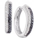 WOMENS .70 CARAT BLACK DIAMOND HOOP EARRINGS ROUND CUT PAVE 14KT WHITE GOLD