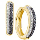 WOMENS .70 CARAT BLACK DIAMOND HOOP EARRINGS ROUND CUT PAVE 14KT YELLOW GOLD