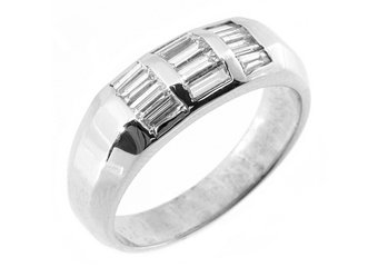 MENS 1 CARAT BAGUETTE CUT DIAMOND RING WEDDING BAND 14KT WHITE GOLD