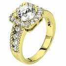 WOMENS DIAMOND ENGAGEMENT HALO RING BRILLIANT ROUND 2.11 CARATS 14KT YELLOW GOLD