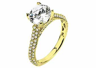 WOMENS DIAMOND ENGAGEMENT RING ROUND CUT 2 CARATS 14KT WHITE GOLD