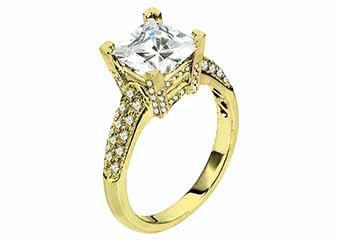 WOMENS DIAMOND ENGAGEMENT RING PRINCESS CUT 1.48 CARAT 18K YELLOW GOLD
