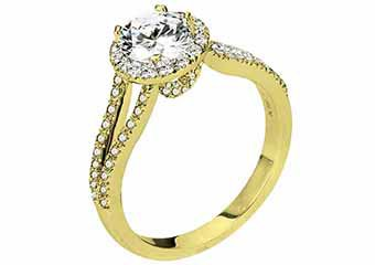 WOMENS DIAMOND ENGAGEMENT HALO RING ROUND CUT 1.48 CARATS 18KT YELLOW GOLD