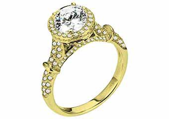 WOMENS DIAMOND ENGAGEMENT HALO RING ROUND CUT 1.69 CARATS 18KT YELLOW GOLD