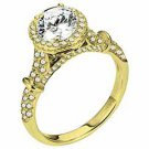 WOMENS DIAMOND ENGAGEMENT HALO RING ROUND CUT 1.69 CARATS 18KT YELLOW GOLD