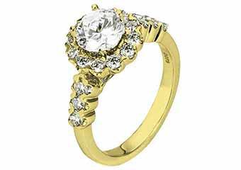 WOMENS DIAMOND ENGAGEMENT HALO RING ROUND CUT 1.73 CARATS 18KT YELLOW GOLD
