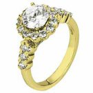 WOMENS DIAMOND ENGAGEMENT HALO RING ROUND CUT 1.73 CARATS 18KT YELLOW GOLD