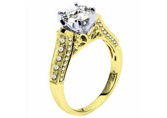 WOMENS DIAMOND ENGAGEMENT RING BRILLIANT ROUND 1.51 CARATS 18KT YELLOW GOLD