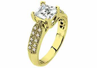 WOMENS DIAMOND ENGAGEMENT RING PRINCESS CUT 1.30 CARAT 18K YELLOW GOLD