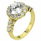 WOMENS DIAMOND ENGAGEMENT HALO RING BRILLIANT ROUND 2.02 CARATS 18KT YELLOW GOLD