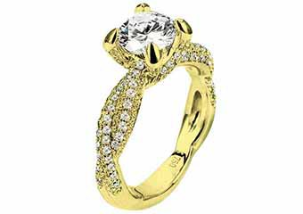 WOMENS DIAMOND ENGAGEMENT RING BRILLIANT ROUND CUT 1.80 CARATS 18KT YELLOW GOLD