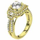 WOMENS DIAMOND ENGAGEMENT HALO RING ROUND CUT 2.05 CARATS 18KT YELLOW GOLD