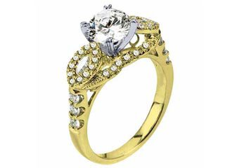 WOMENS DIAMOND ENGAGEMENT WEDDING RING ROUND CUT 1.63 CARATS 18KT YELLOW GOLD