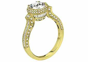 WOMENS DIAMOND ENGAGEMENT HALO RING BRILLIANT ROUND 2.05 CARATS 18KT YELLOW GOLD