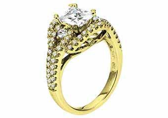 WOMENS DIAMOND ENGAGEMENT RING PRINCESS CUT 1.83 CARAT 18K YELLOW GOLD
