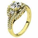 WOMENS DIAMOND ENGAGEMENT RING PRINCESS CUT 1.67 CARAT 18K YELLOW GOLD