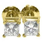 1 CARAT PRINCESS SQUARE CUT DIAMOND STUD EARRINGS 14K YELLOW GOLD SI2-3/G