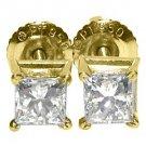 1 CARAT PRINCESS SQUARE CUT DIAMOND STUD EARRINGS 14K YELLOW GOLD SI2-3/G