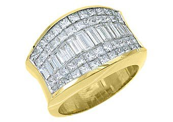 4 CARAT WOMENS PRINCESS BAGUETTE INVISIBLE DIAMOND RING WEDDING BAND YELLOW GOLD